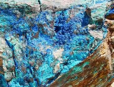 Photo of blue mineralisation at Thackaringa