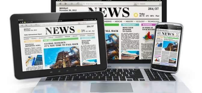 Monitors displaying news