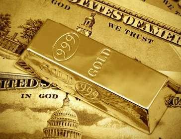 gold bar on dollars
