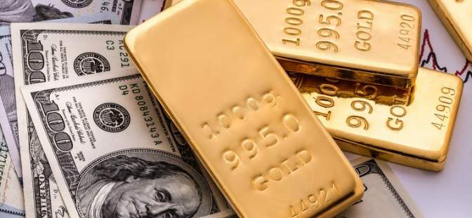 gold bars and US dollars