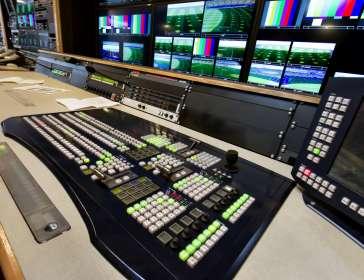 control panel in a television studio