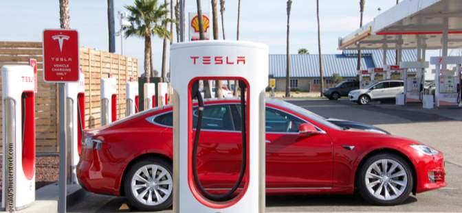 Tesla car at charging station