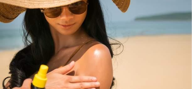woman sun bathing