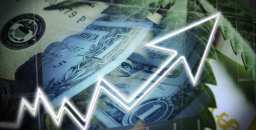 Marijuana stocks rising graphic overlayed with dollar images